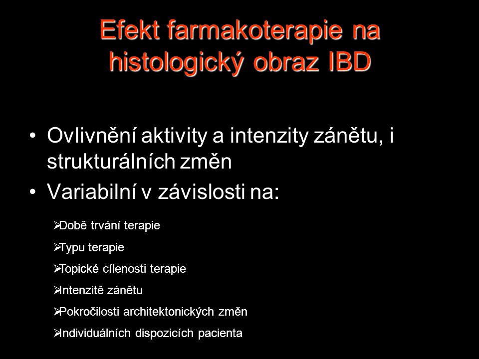 Efekt farmakoterapie na histologický obraz IBD