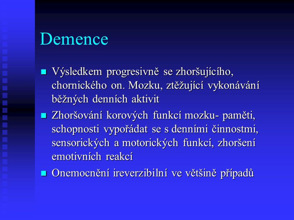 Demence Výsledkem progresivně se zhoršujícího, chornického on. Mozku, ztěžující vykonávání běžných denních aktivit.
