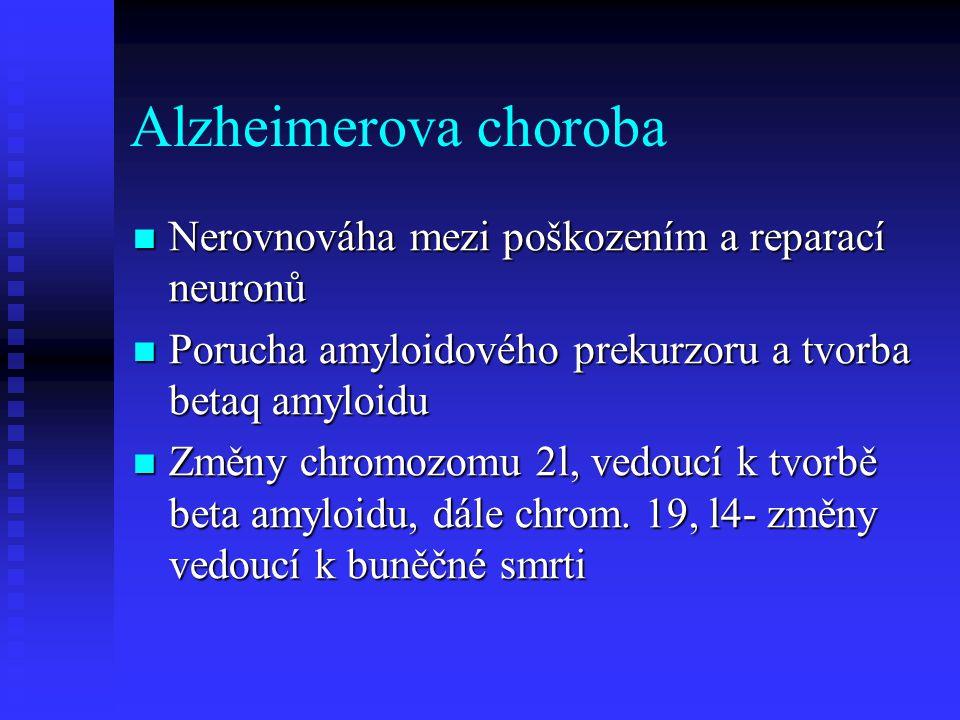 Alzheimerova choroba Nerovnováha mezi poškozením a reparací neuronů