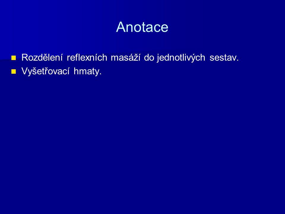 Anotace Rozdělení reflexních masáží do jednotlivých sestav.