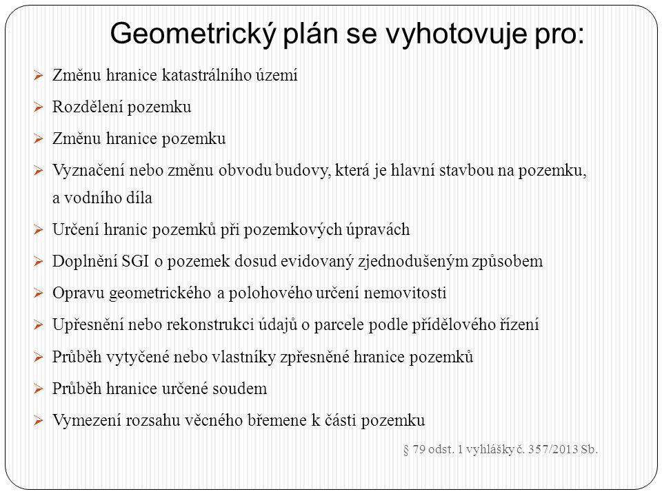 Geometrický plán se vyhotovuje pro: