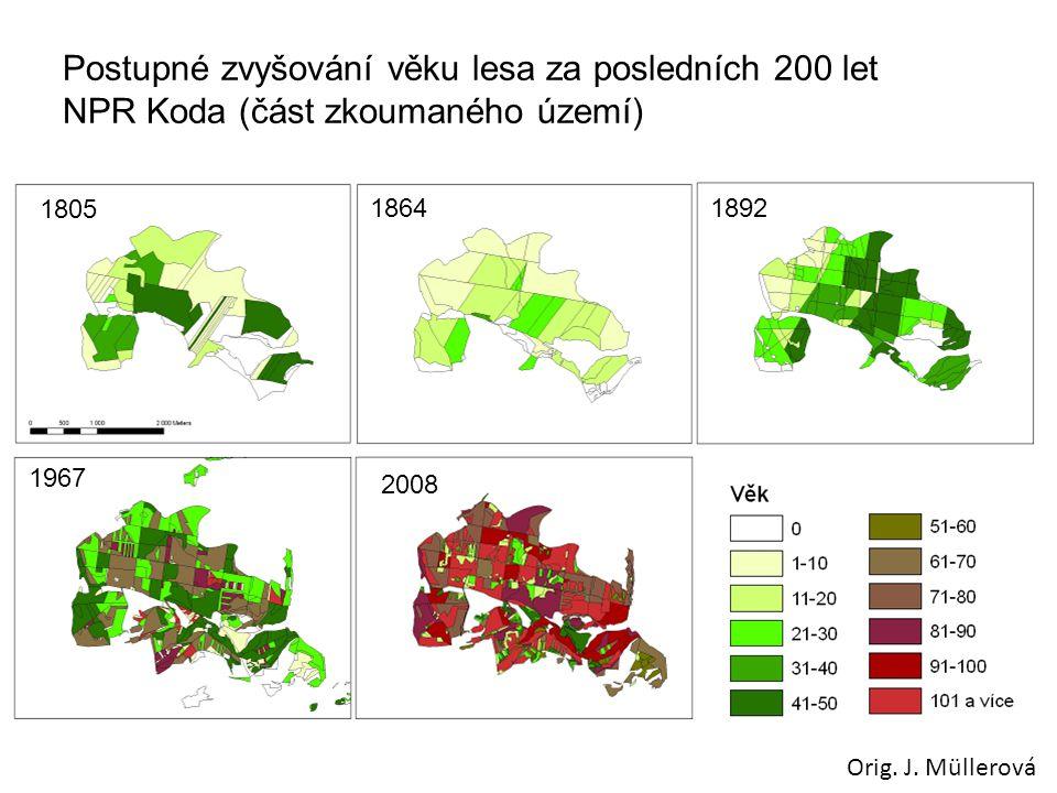 Postupné zvyšování věku lesa za posledních 200 let