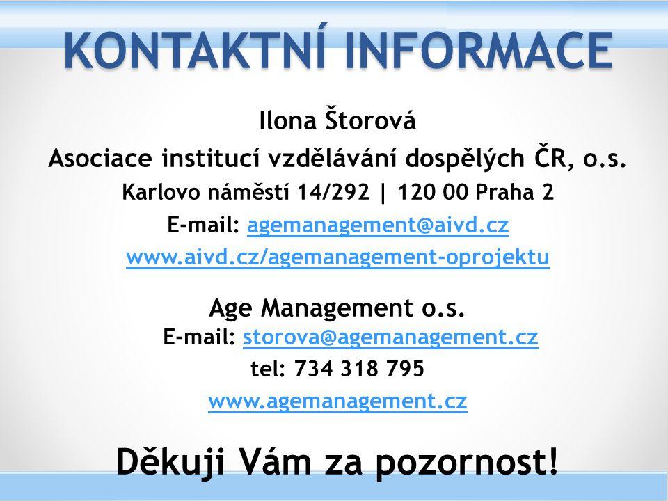 Kontaktní informace Děkuji Vám za pozornost! Ilona Štorová