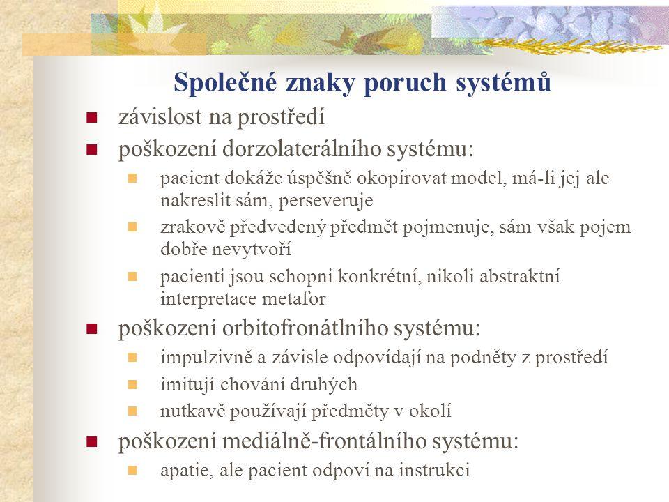 Společné znaky poruch systémů