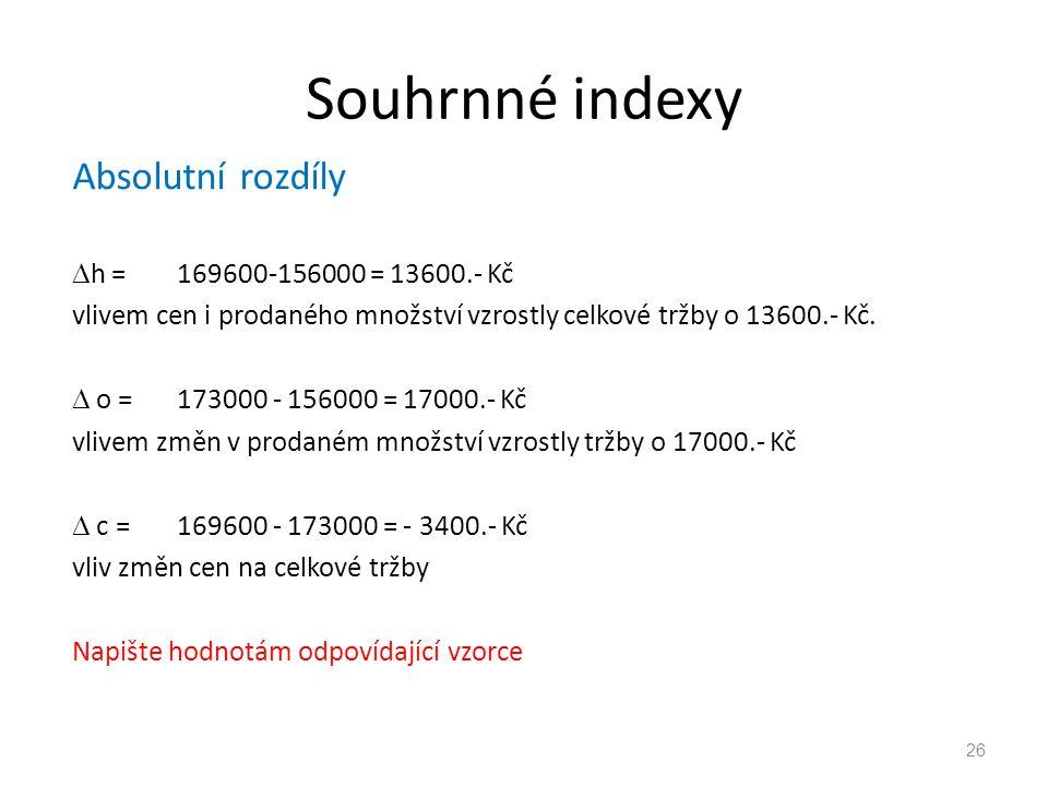 Souhrnné indexy Absolutní rozdíly h = 169600-156000 = 13600.- Kč