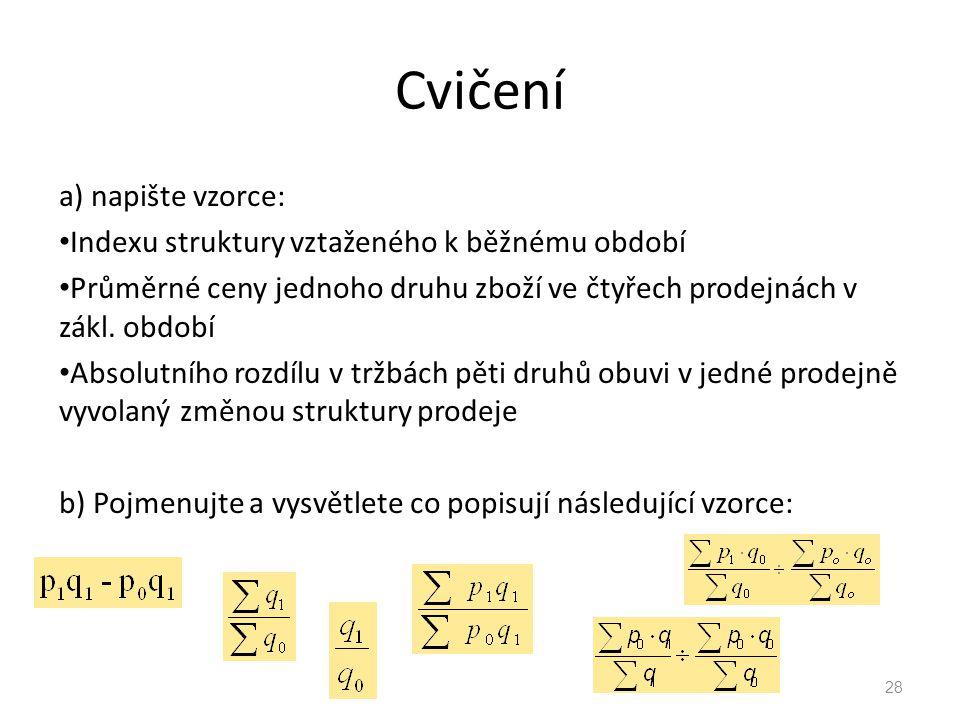 Cvičení a) napište vzorce: