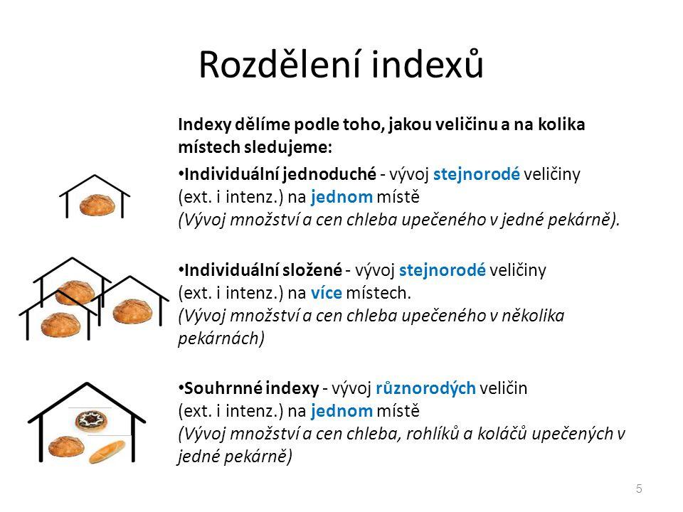Rozdělení indexů Indexy dělíme podle toho, jakou veličinu a na kolika místech sledujeme: