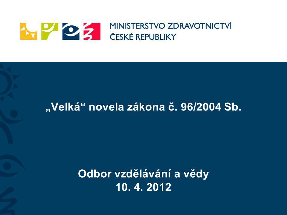 """""""Velká novela zákona č. 96/2004 Sb. Odbor vzdělávání a vědy 10. 4"""