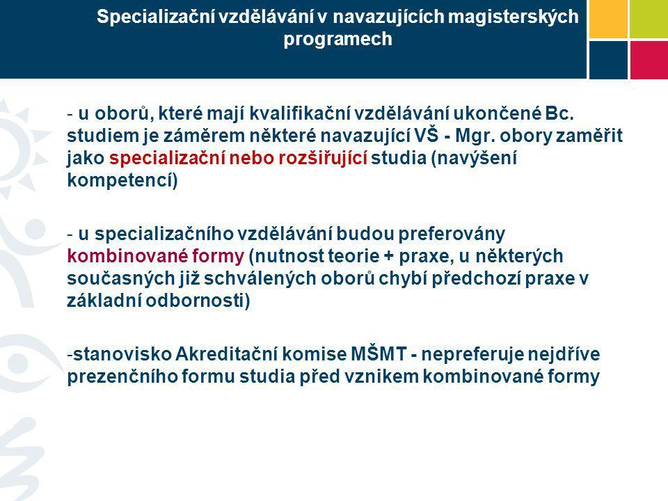 Specializační vzdělávání v navazujících magisterských programech