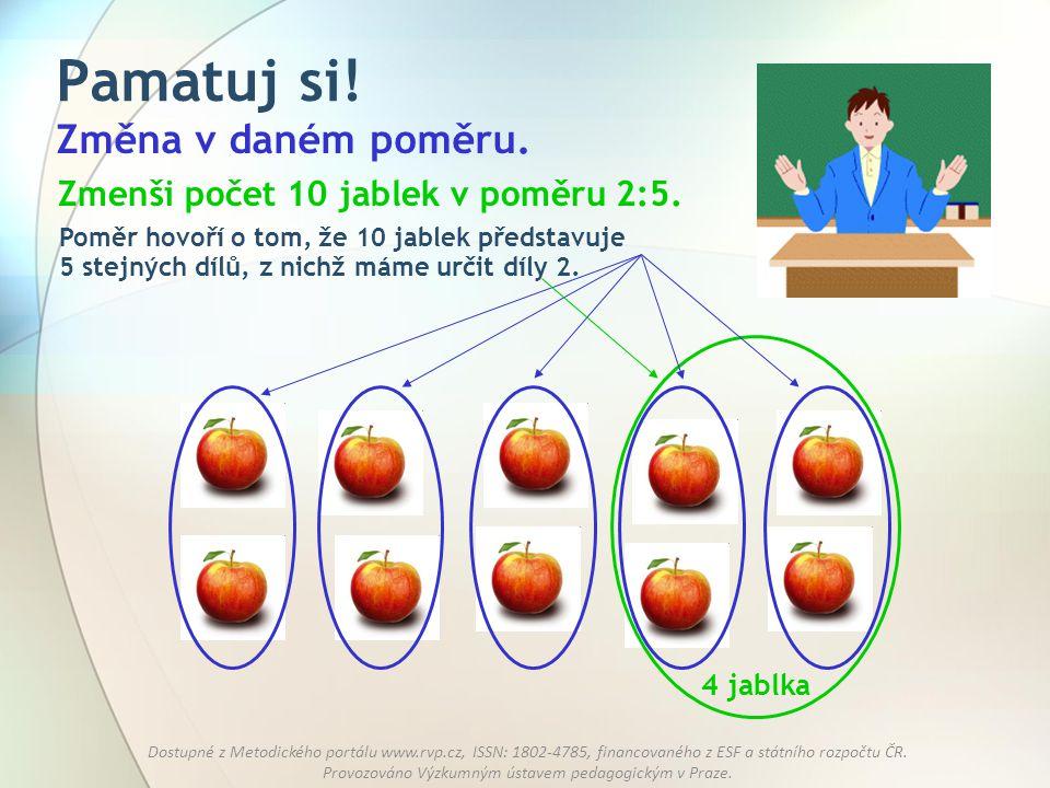 Pamatuj si! Změna v daném poměru. Zmenši počet 10 jablek v poměru 2:5.