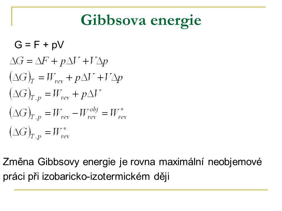 Gibbsova energie G = F + pV