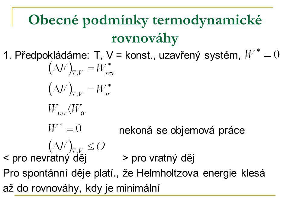 Obecné podmínky termodynamické rovnováhy