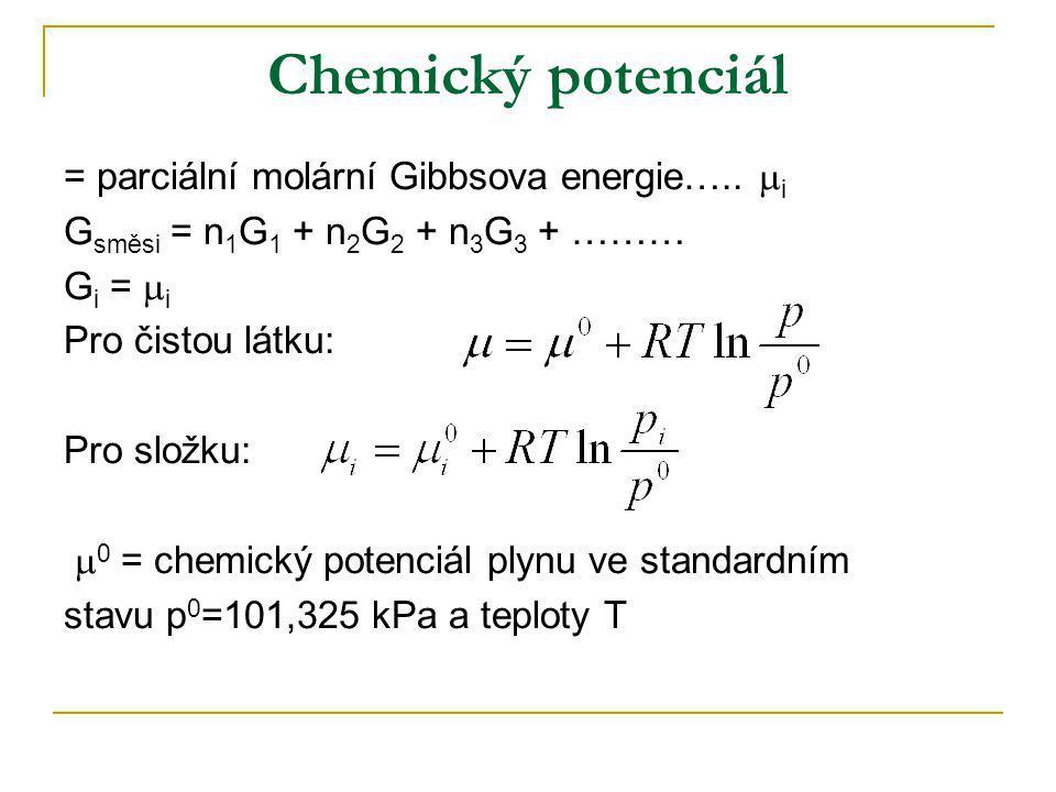 Chemický potenciál = parciální molární Gibbsova energie….. i