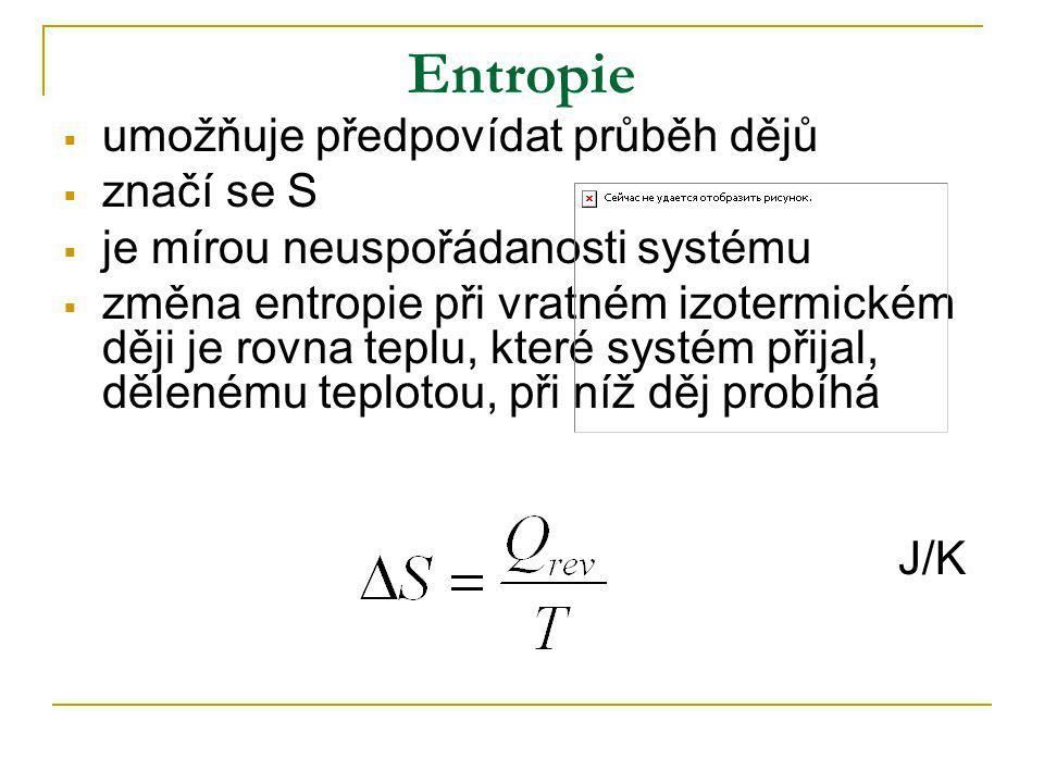Entropie umožňuje předpovídat průběh dějů značí se S
