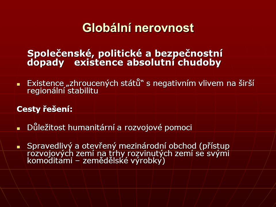 Globální nerovnost Společenské, politické a bezpečnostní dopady existence absolutní chudoby.