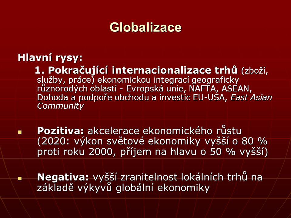 Globalizace Hlavní rysy: