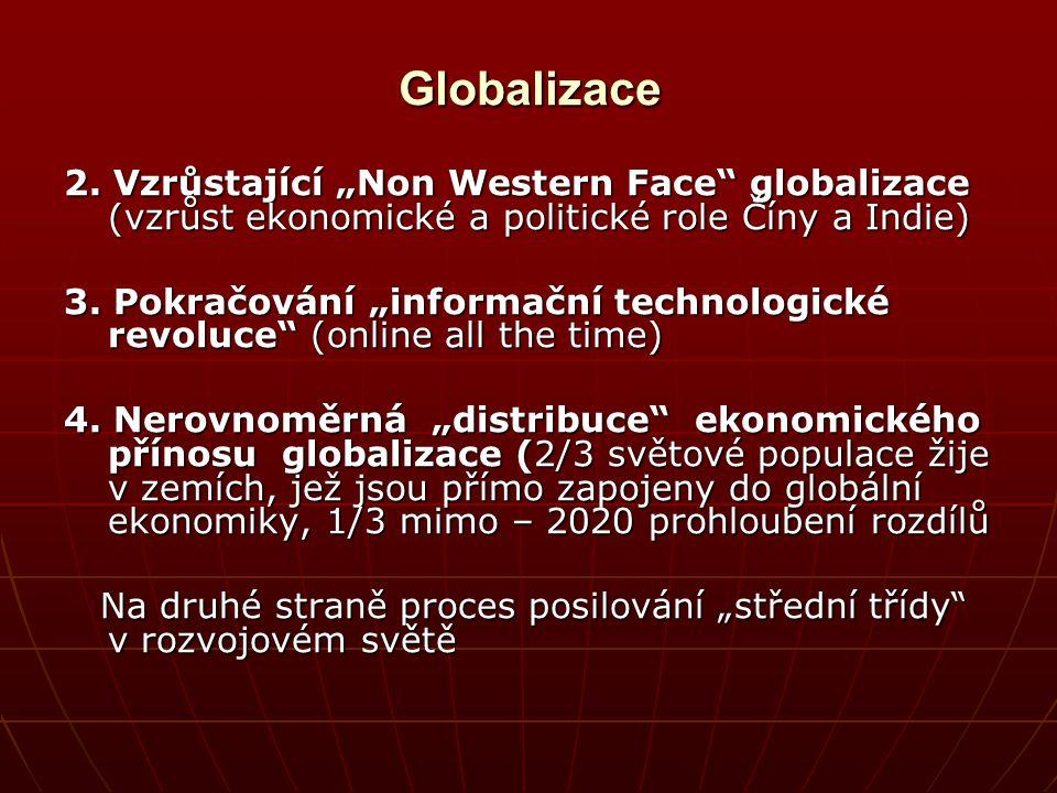 """Globalizace 2. Vzrůstající """"Non Western Face globalizace (vzrůst ekonomické a politické role Číny a Indie)"""