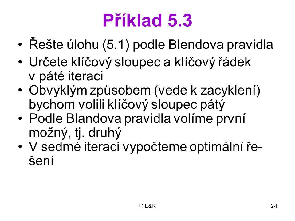 Příklad 5.3 Řešte úlohu (5.1) podle Blendova pravidla