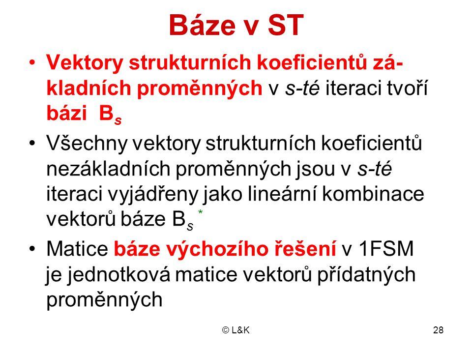 Báze v ST Vektory strukturních koeficientů zá-kladních proměnných v s-té iteraci tvoří bázi Bs.