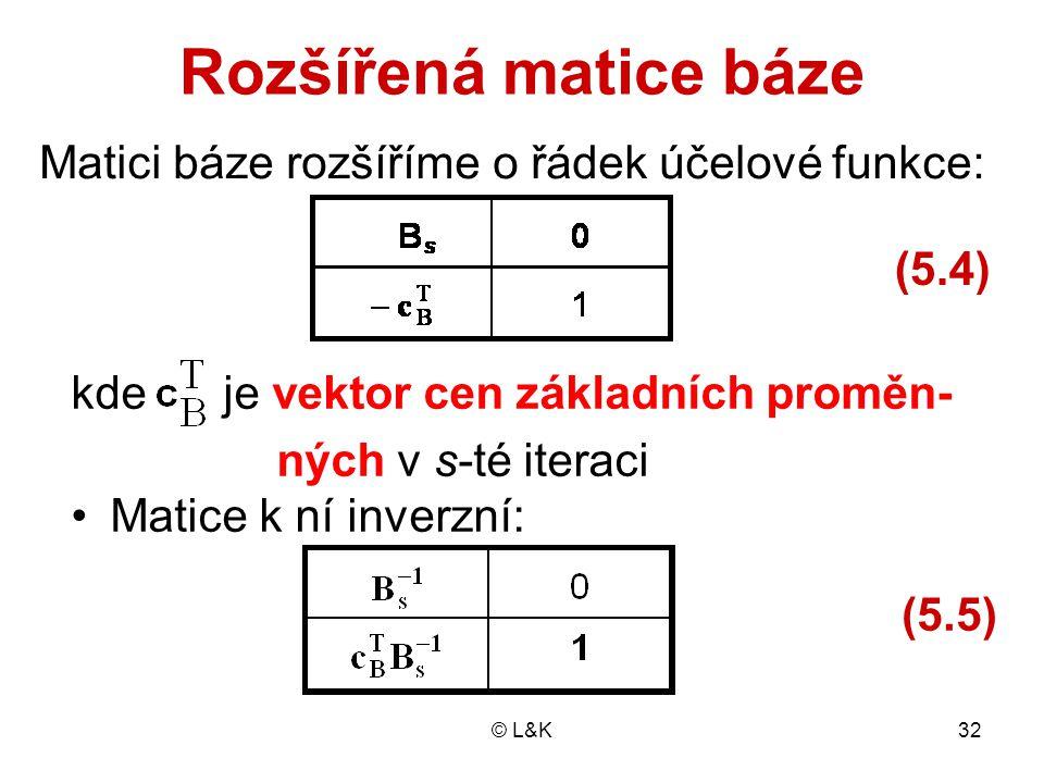 Rozšířená matice báze Matici báze rozšíříme o řádek účelové funkce: