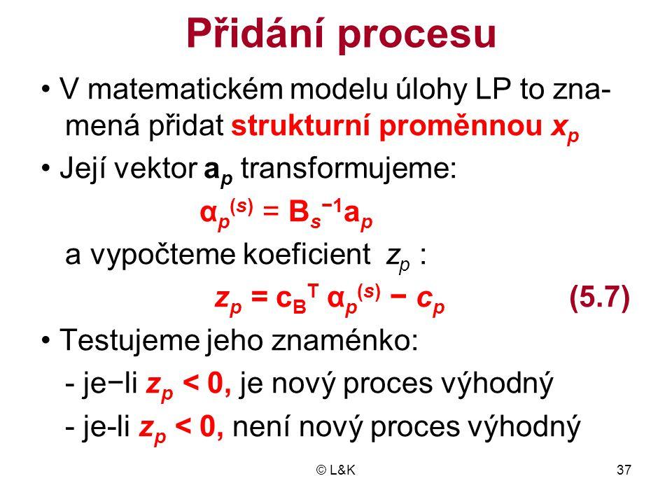 Přidání procesu • V matematickém modelu úlohy LP to zna-