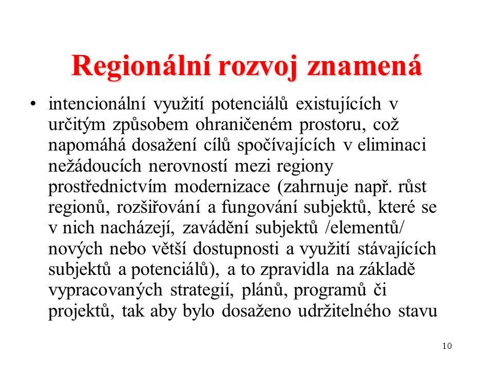 Regionální rozvoj znamená