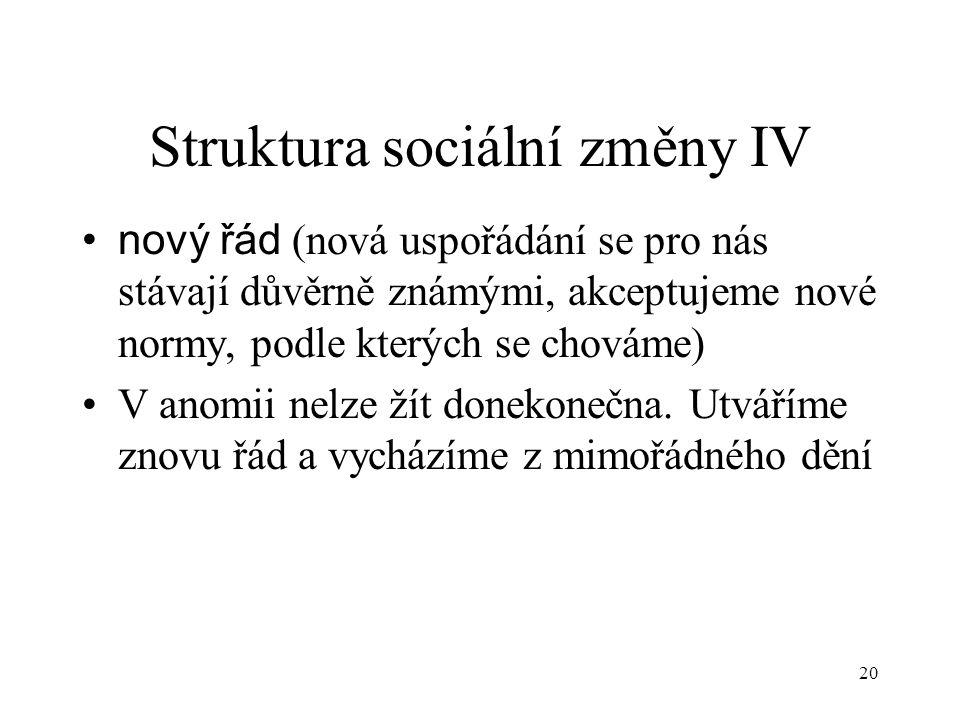 Struktura sociální změny IV