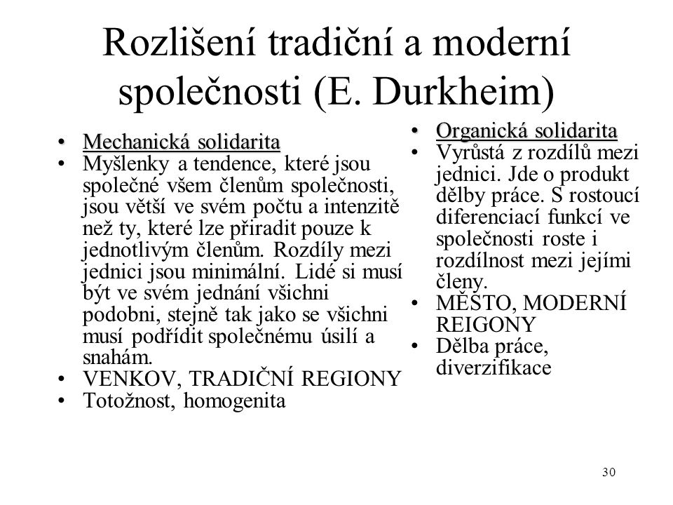 Rozlišení tradiční a moderní společnosti (E. Durkheim)
