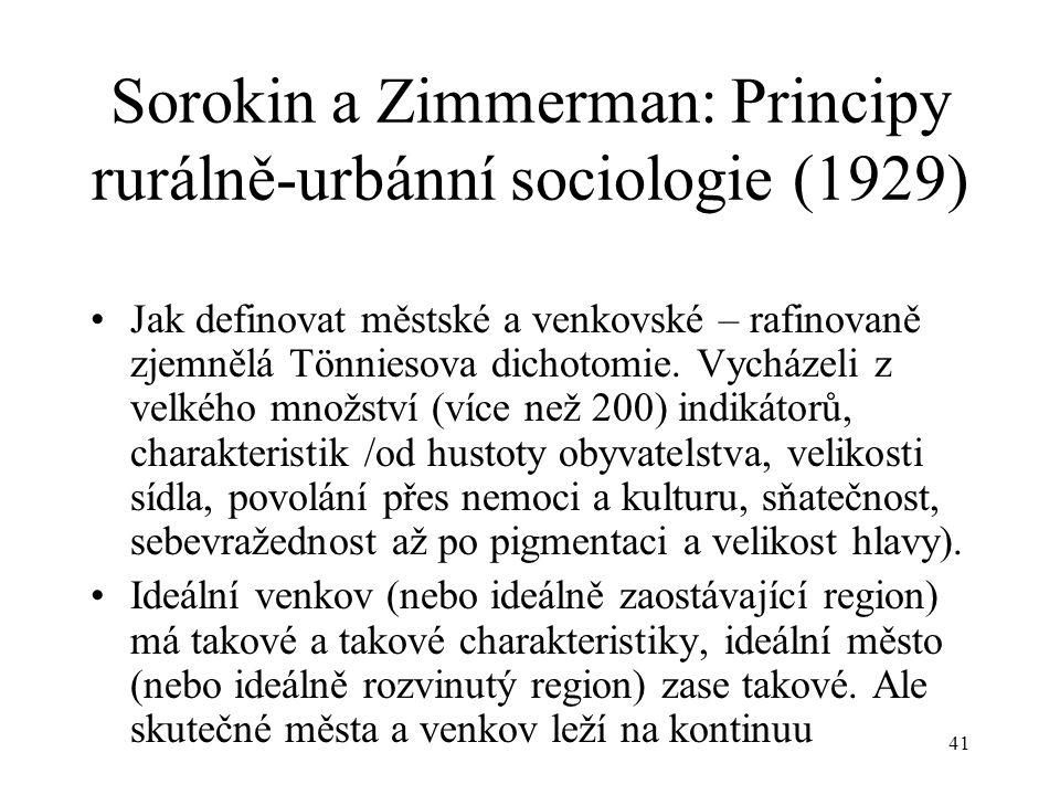 Sorokin a Zimmerman: Principy rurálně-urbánní sociologie (1929)