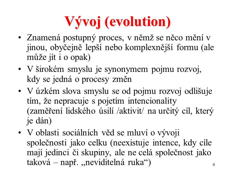 Vývoj (evolution) Znamená postupný proces, v němž se něco mění v jinou, obyčejně lepší nebo komplexnější formu (ale může jít i o opak)