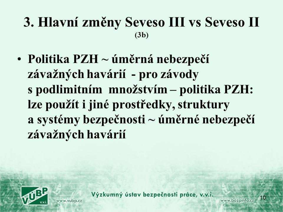 3. Hlavní změny Seveso III vs Seveso II (3b)