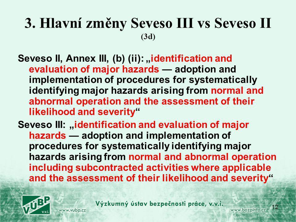 3. Hlavní změny Seveso III vs Seveso II (3d)