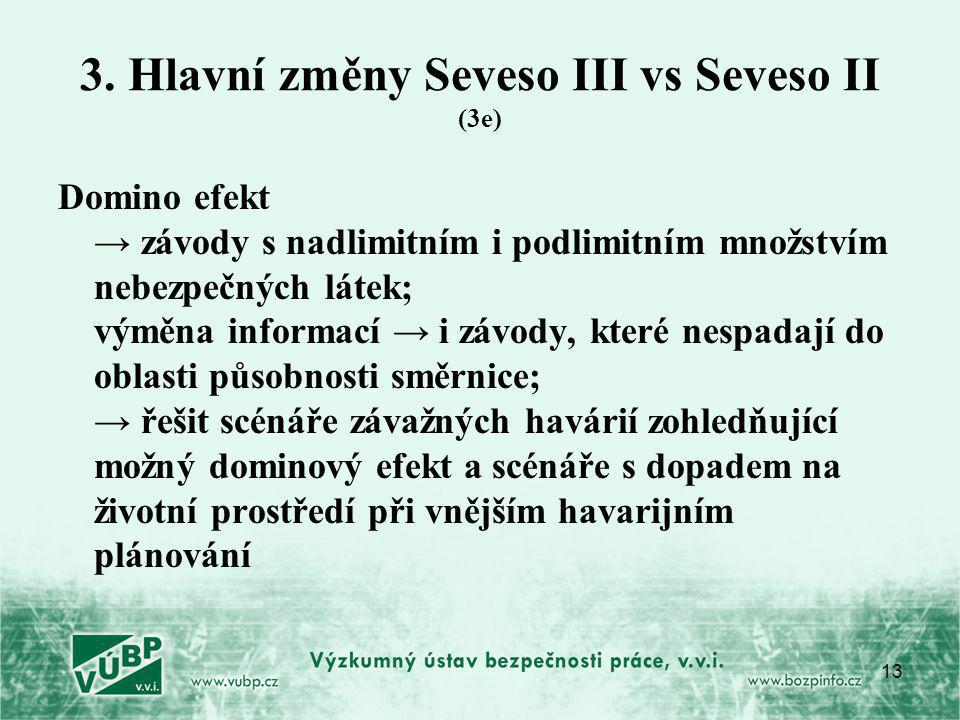 3. Hlavní změny Seveso III vs Seveso II (3e)