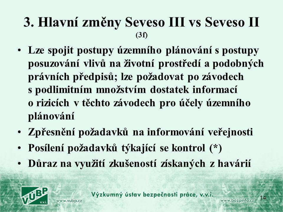 3. Hlavní změny Seveso III vs Seveso II (3f)