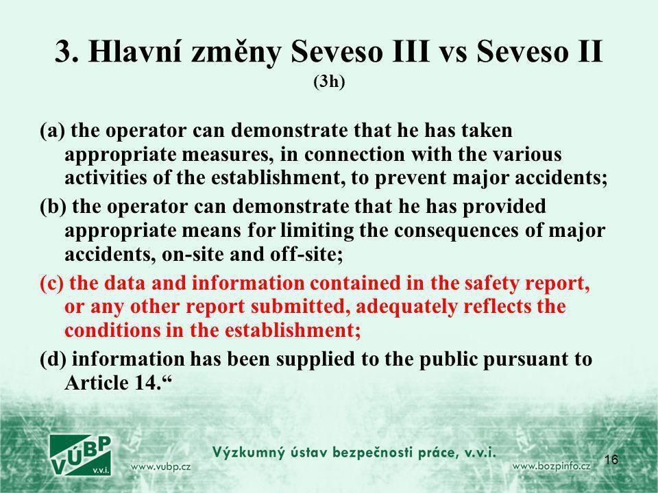 3. Hlavní změny Seveso III vs Seveso II (3h)