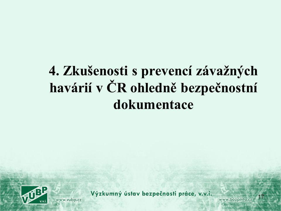 4. Zkušenosti s prevencí závažných havárií v ČR ohledně bezpečnostní dokumentace