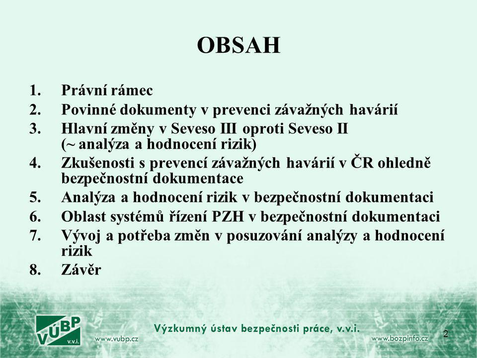 OBSAH Právní rámec Povinné dokumenty v prevenci závažných havárií