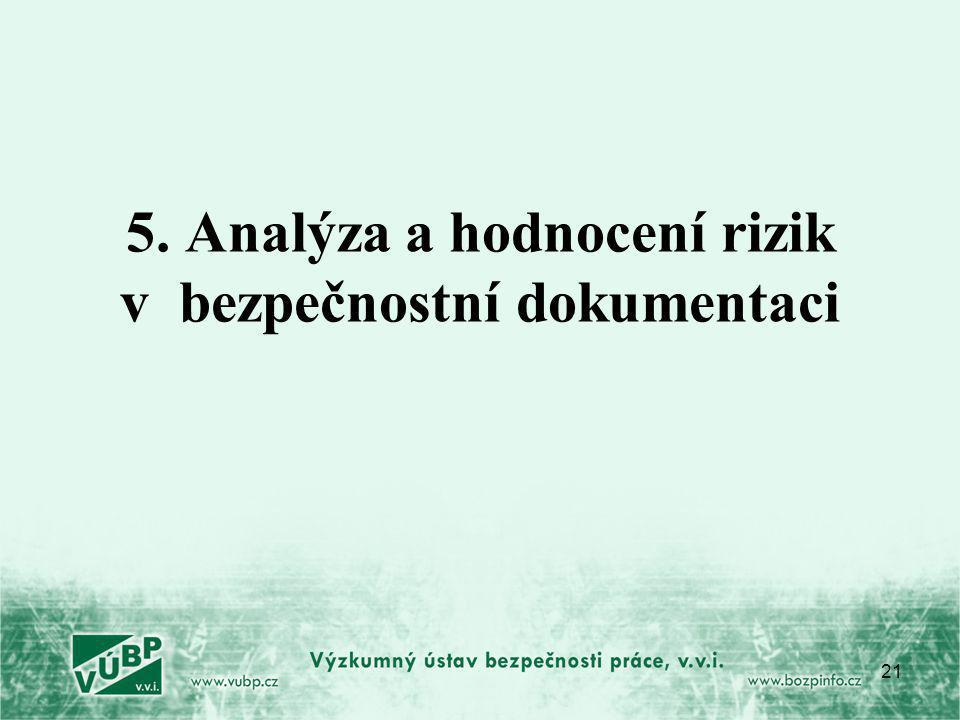 5. Analýza a hodnocení rizik v bezpečnostní dokumentaci