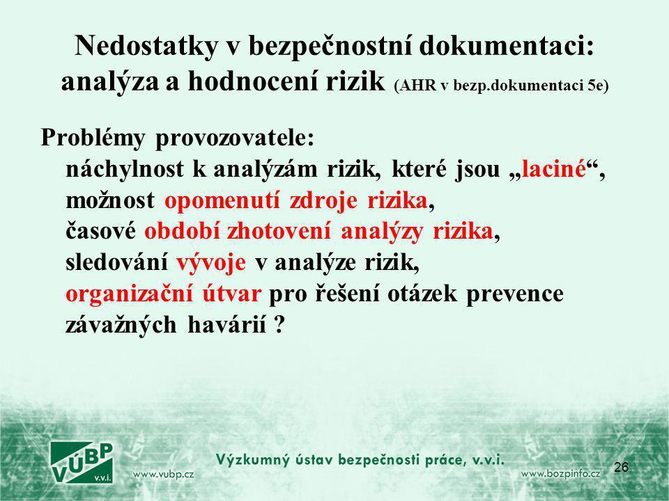 Nedostatky v bezpečnostní dokumentaci: analýza a hodnocení rizik (AHR v bezp.dokumentaci 5e)