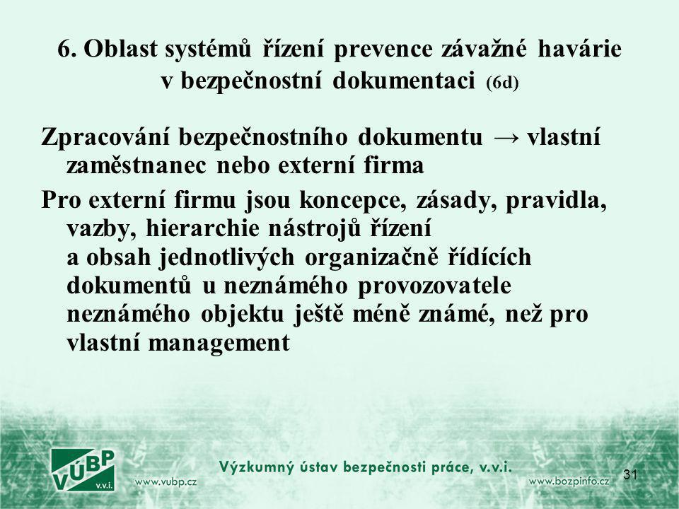 6. Oblast systémů řízení prevence závažné havárie v bezpečnostní dokumentaci (6d)