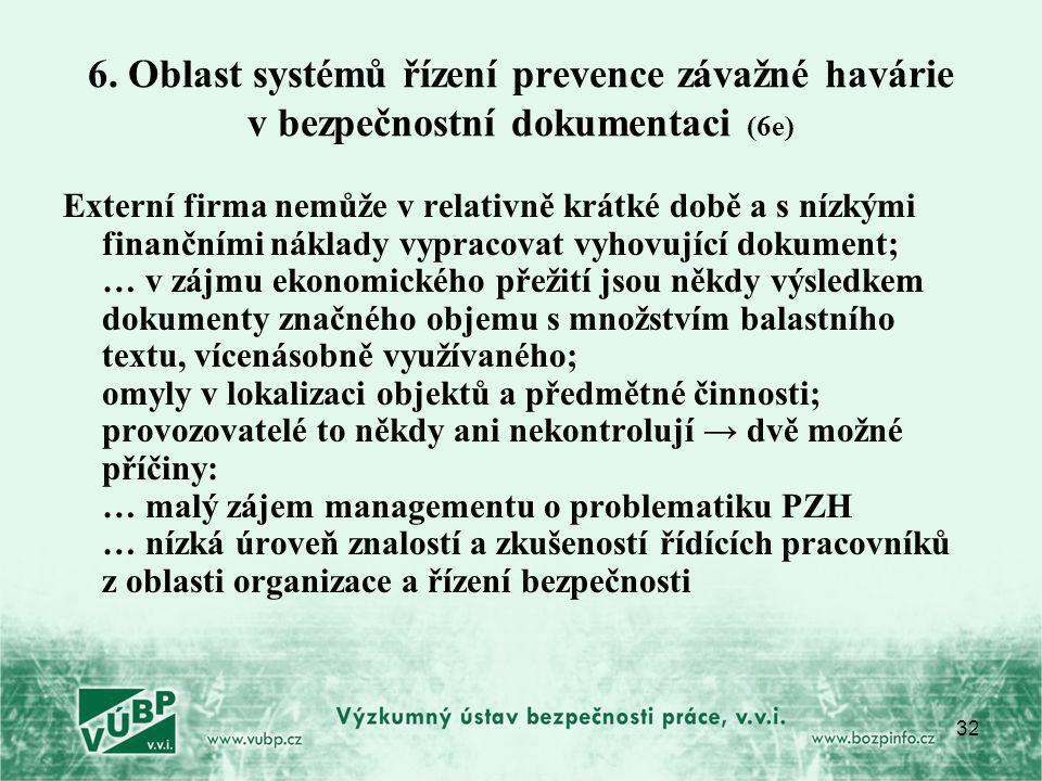 6. Oblast systémů řízení prevence závažné havárie v bezpečnostní dokumentaci (6e)