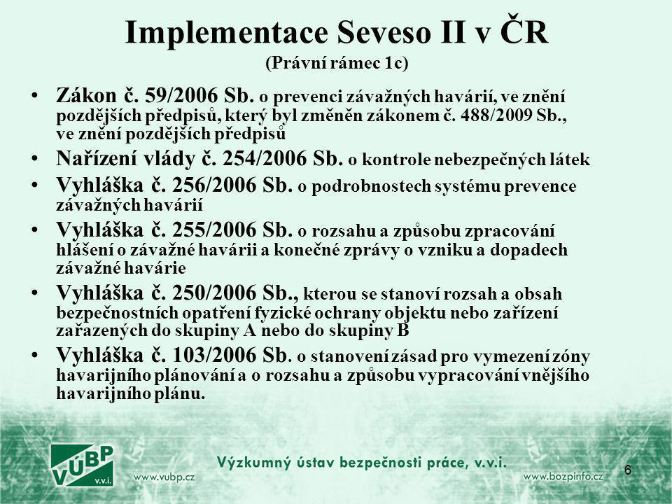 Implementace Seveso II v ČR (Právní rámec 1c)