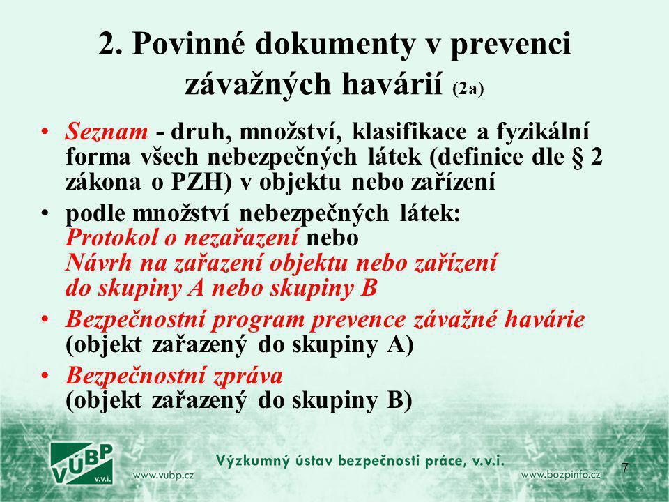 2. Povinné dokumenty v prevenci závažných havárií (2a)