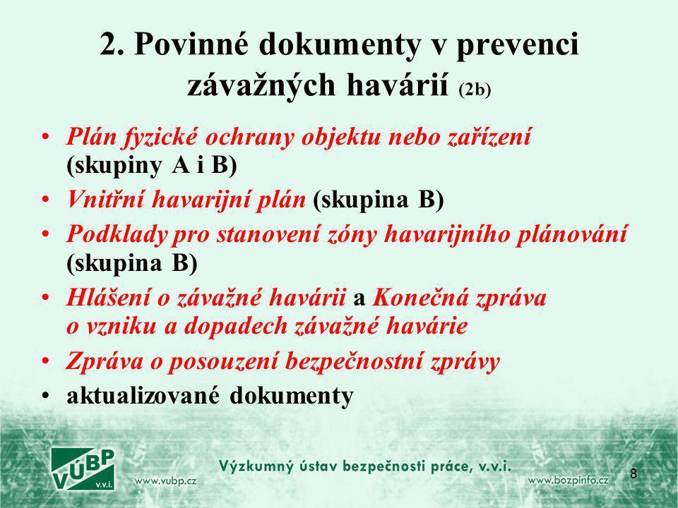 2. Povinné dokumenty v prevenci závažných havárií (2b)