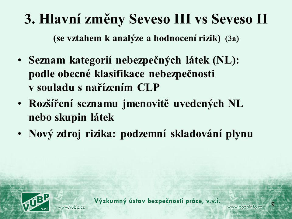 3. Hlavní změny Seveso III vs Seveso II (se vztahem k analýze a hodnocení rizik) (3a)