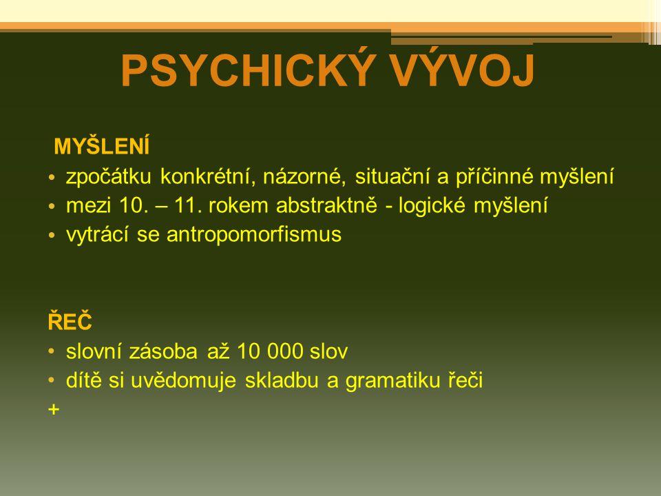 PSYCHICKÝ VÝVOJ MYŠLENÍ
