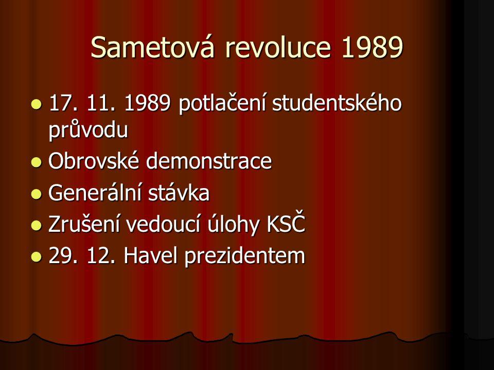 Sametová revoluce 1989 17. 11. 1989 potlačení studentského průvodu
