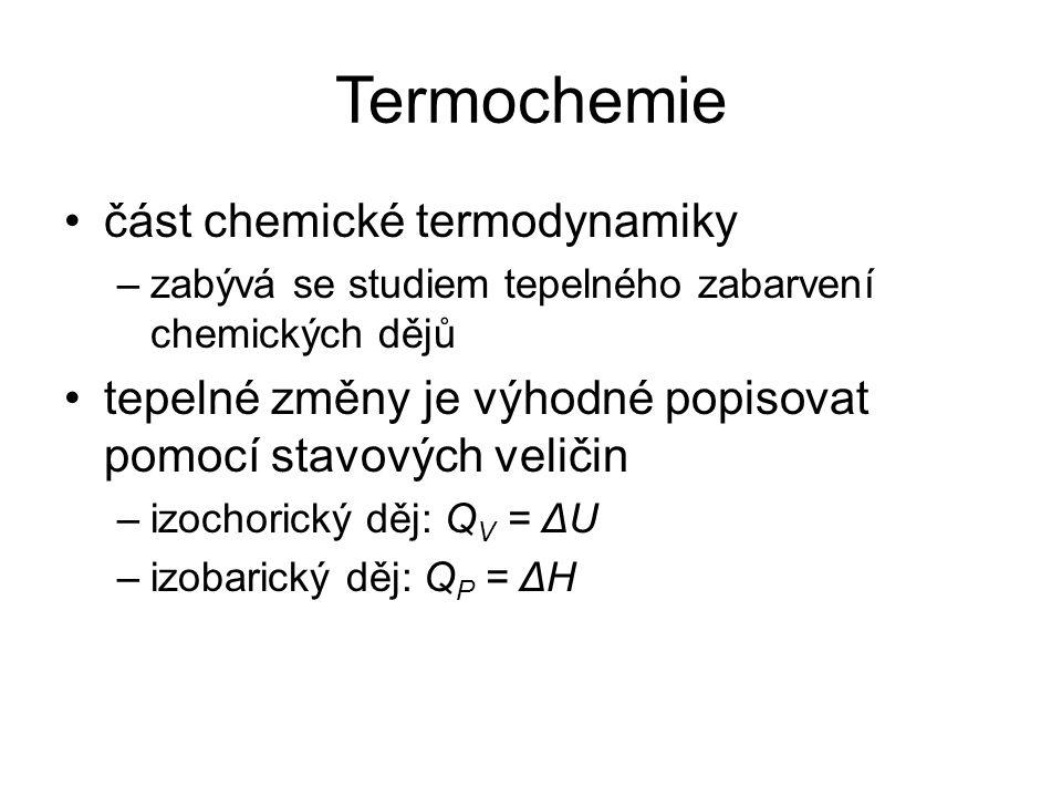 Termochemie část chemické termodynamiky