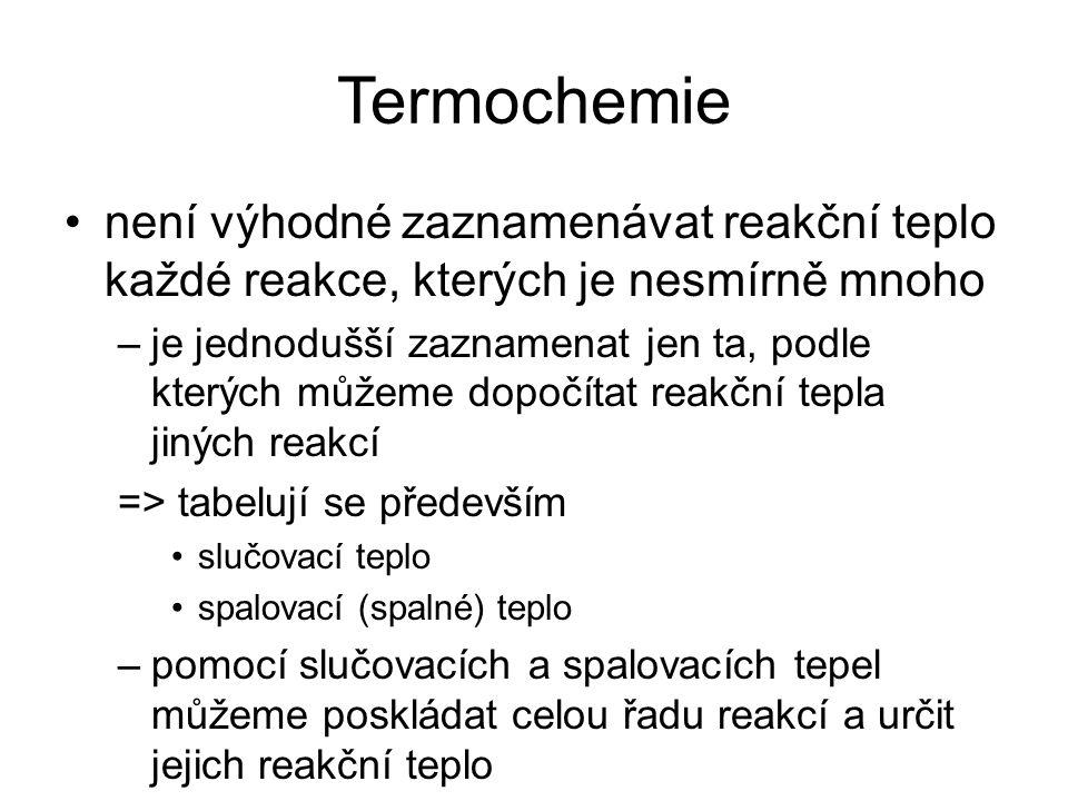 Termochemie není výhodné zaznamenávat reakční teplo každé reakce, kterých je nesmírně mnoho.