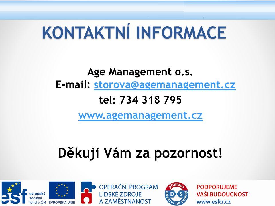 Kontaktní informace Děkuji Vám za pozornost!